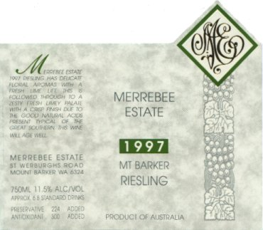 Merrebee Estate 1997 Riesling